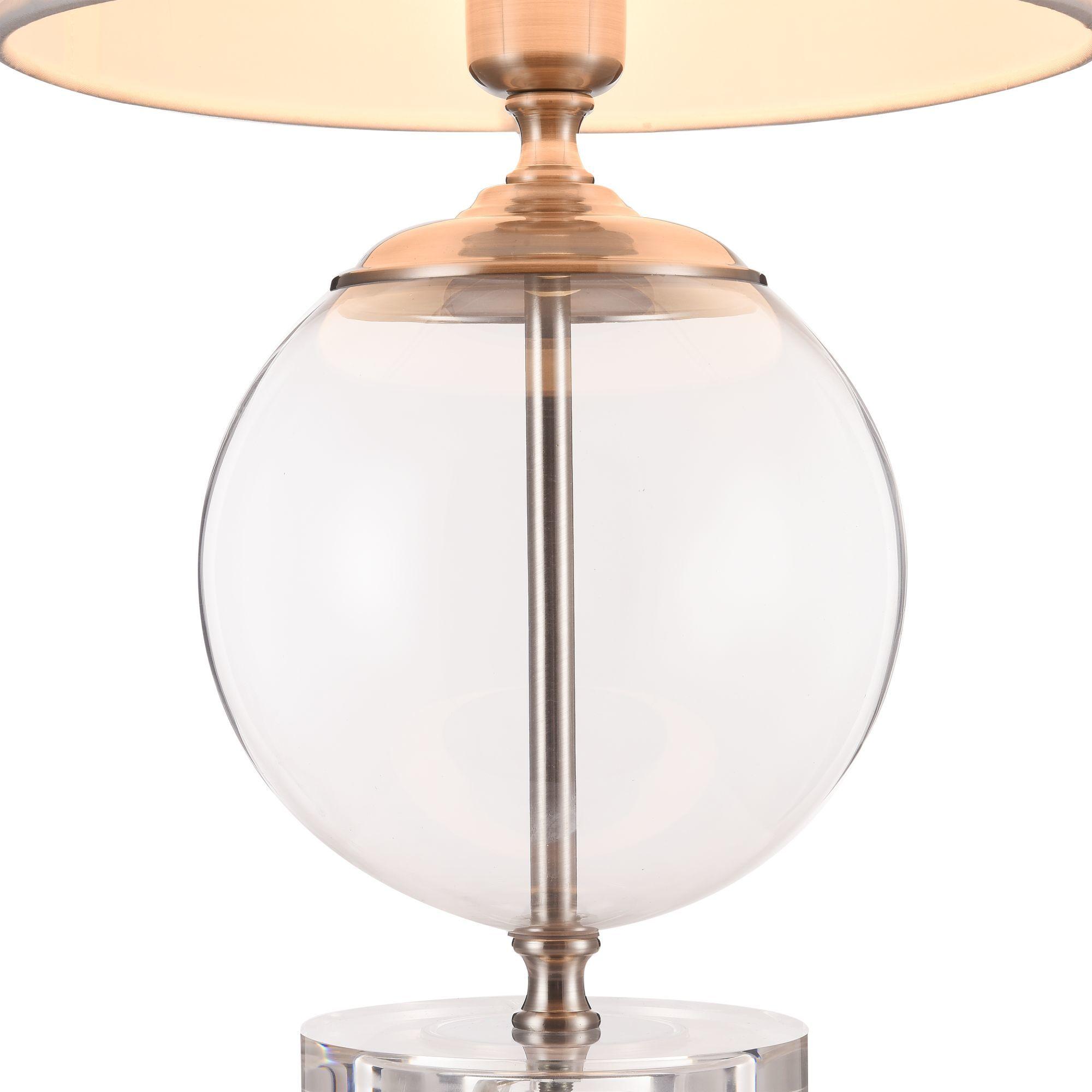 Настольная лампа Maytoni Lowell Z533TL-01N, 1xE27x40W, никель с прозрачным, прозрачный с никелем, бежевый, стекло с металлом, текстиль - фото 7