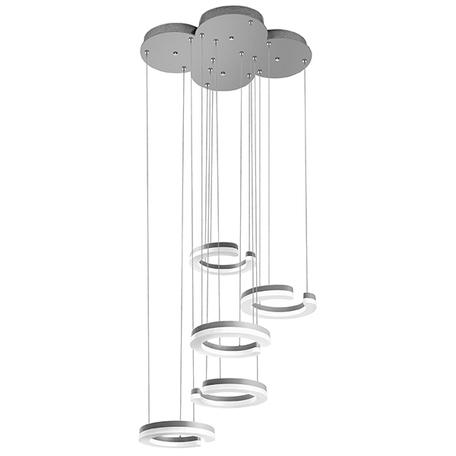 Светодиодная люстра-каскад Lightstar Unitario 763439, IP40, LED 46W 3000K 5060lm, серебро, белый, металл, пластик