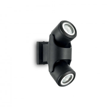 Настенный светильник с регулировкой направления света Ideal Lux XENO AP2 NERO 129501, IP44, 2xGU10x28W, черный, металл, стекло