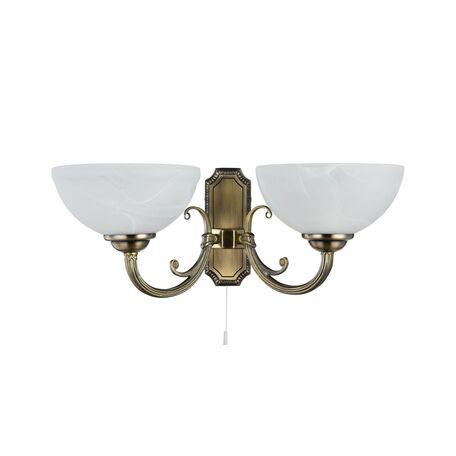 Бра Freya Herbert FR2012-WL-02-BZ (fr1012-02-r), 2xE27x60W, бронза, белый, металл, стекло