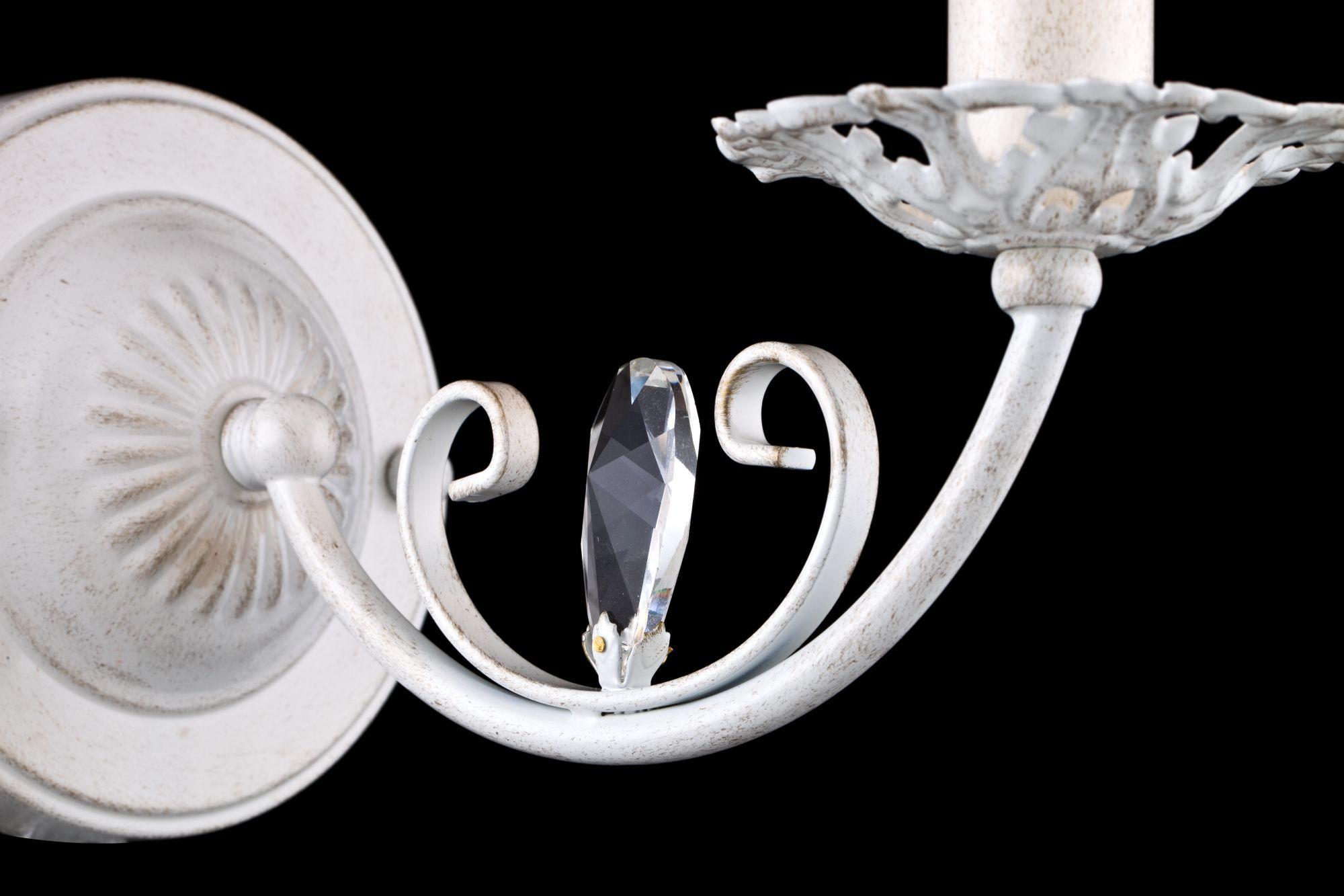 Бра Freya Bianchi FR2307-WL-01-WG (FR307-01-W), 1xE14x40W, белый с золотой патиной с прозрачным, белый с матовым золотом, металл со стеклом, текстиль - фото 5
