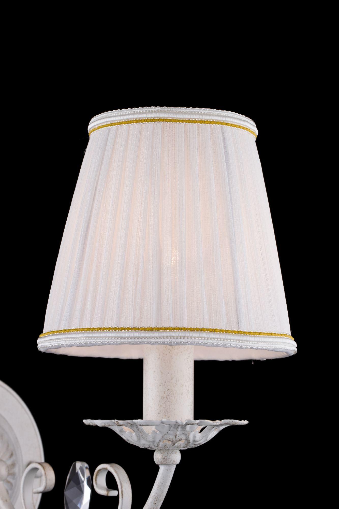 Бра Freya Bianchi FR2307-WL-01-WG (FR307-01-W), 1xE14x40W, белый с золотой патиной с прозрачным, белый с матовым золотом, металл со стеклом, текстиль - фото 6