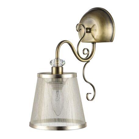 Бра Freya Classic Driana FR2405-WL-01-BZ (FR405-01-R), 1xE14x40W, бронза с прозрачным, прозрачный с бронзой, металл с хрусталем, текстиль