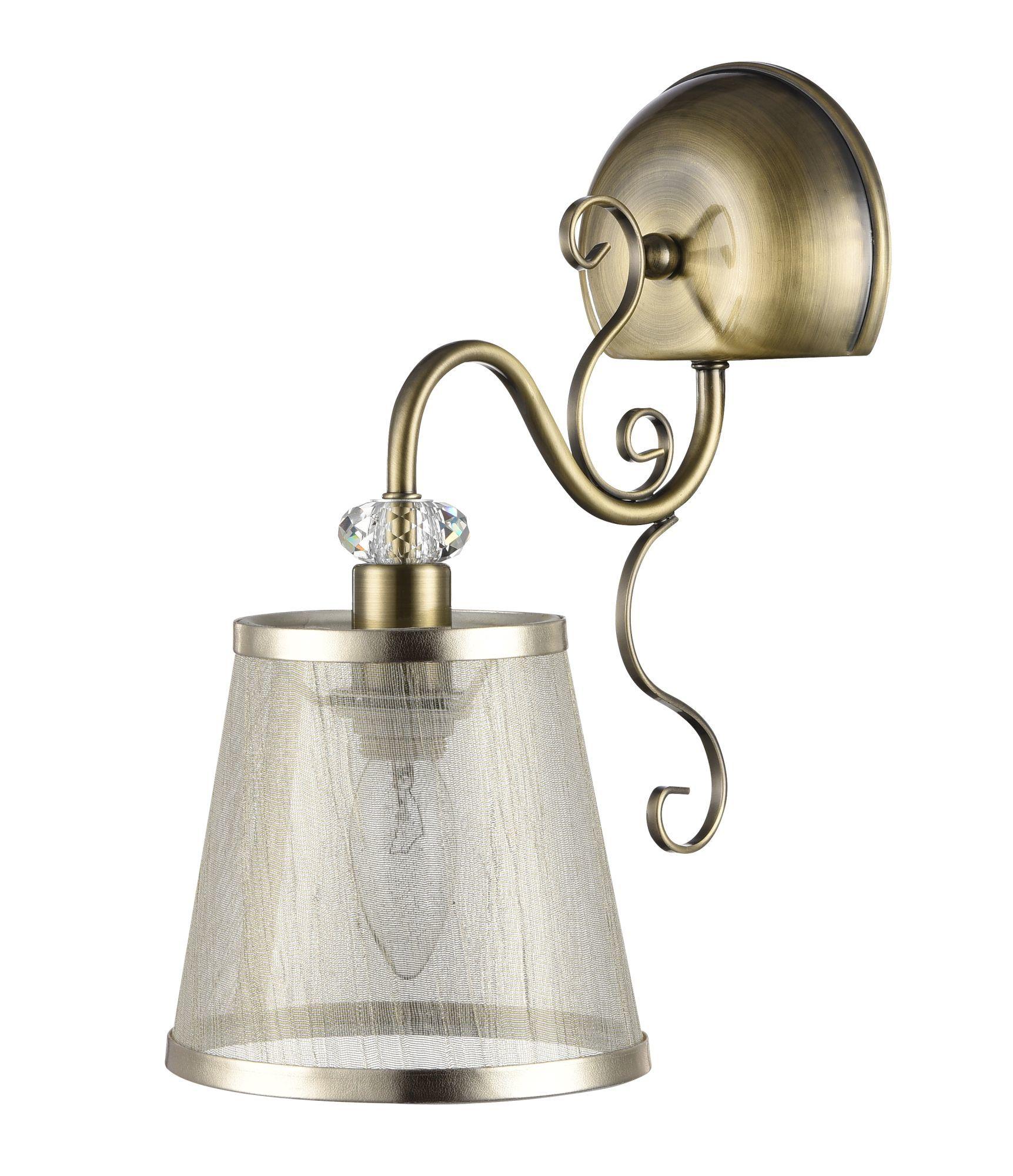 Бра Freya Driana FR2405-WL-01-BZ (FR405-01-R), 1xE14x40W, бронза с прозрачным, прозрачный с бронзой, металл с хрусталем, текстиль - фото 1