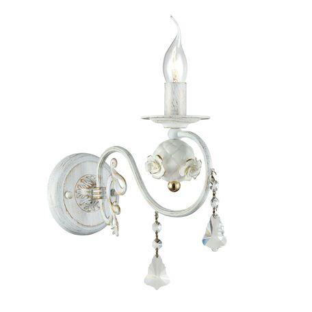 Бра Freya Faberge FR3218-WL-01-WG, белый с золотой патиной, прозрачный, керамика, металл, хрусталь - миниатюра 1