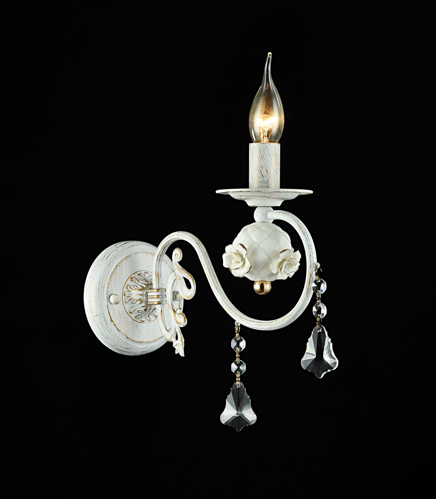 Бра Freya Faberge FR3218-WL-01-WG, белый с золотой патиной, прозрачный, керамика, металл, хрусталь - фото 2