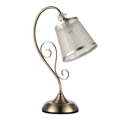 Настольная лампа Freya Driana FR2405-TL-01-BZ (fr405-00-r), 1xE14x40W, бронза, прозрачный, металл со стеклом/хрусталем, текстиль