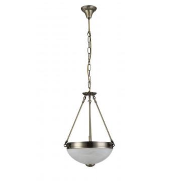 Подвесная люстра Freya Herbert FR2012-PL-03-BZ (FR1012-03-R), 3xE27x60W, бронза, белый с бронзой, металл, стекло