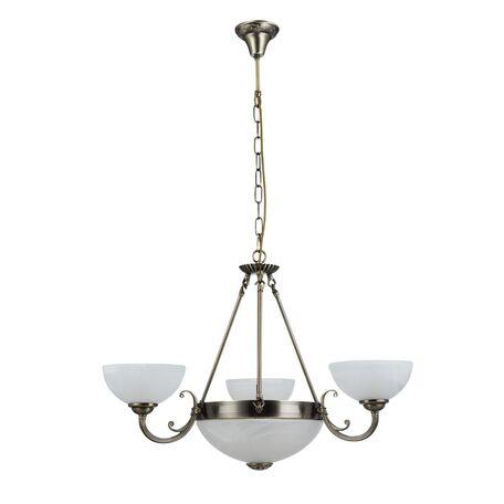Подвесная люстра Freya Herbert FR2012-PL-06-BZ (FR1012-06-R), 6xE27x60W, бронза, белый с бронзой, металл, стекло