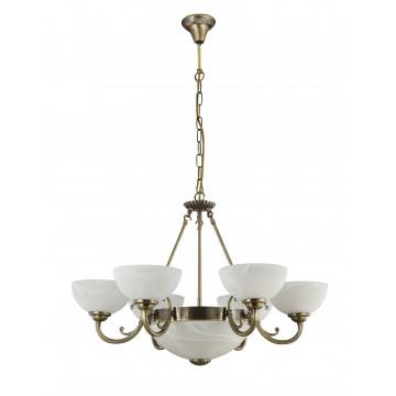 Подвесная люстра Freya Herbert FR2012-PL-09-BZ (FR1012-09-R), 9xE27x60W, бронза, белый с бронзой, металл, стекло