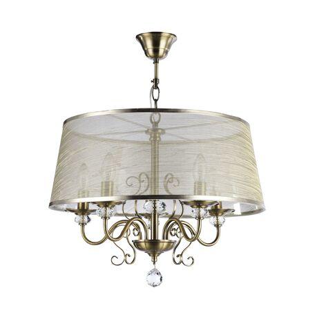 Подвесная люстра Freya Driana FR2405-PL-05C-BZ (fr405-55-r), 5xE14x40W, бронза, прозрачный, металл со стеклом/хрусталем, текстиль, хрусталь
