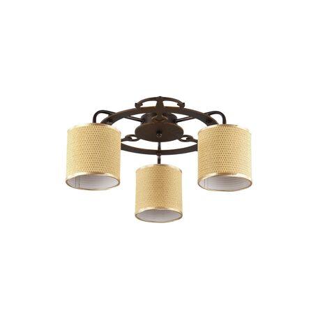 Потолочная люстра Freya Timone FR5100-CL-03-BR (fr100-03-r), 3xE14x40W, коричневый, золото, дерево, металл, текстиль
