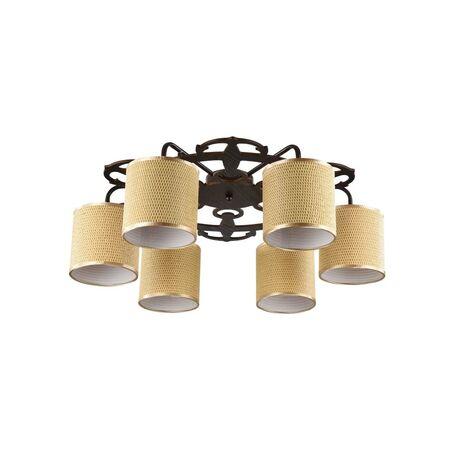 Потолочная люстра Freya Timone FR5100-CL-06-BR (fr100-06-r), 6xE14x40W, коричневый, золото, дерево, металл, текстиль