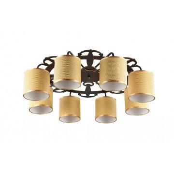 Потолочная люстра Freya Timone FR5100-CL-08-BR (FR100-08-R), 8xE14x40W, коричневый, желтый с золотом, дерево с металлом, текстиль