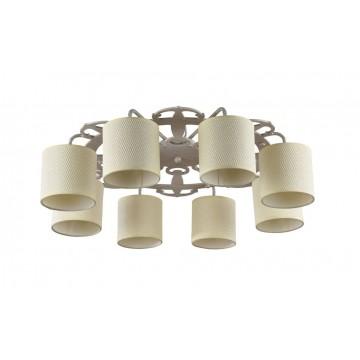 Потолочная люстра Freya Timone FR5100-CL-08-WG (fr100-08-w), 8xE14x40W, бежевый, белый с золотой патиной, дерево, металл, текстиль