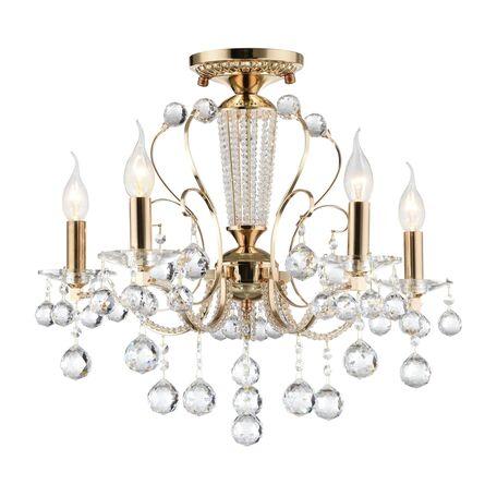 Потолочно-подвесная люстра Freya Marlin FR1130-PL-05-G (FR130-05-G), 5xE14x40W, золото с прозрачным, прозрачный с золотом, прозрачный, металл со стеклом, хрусталь - миниатюра 1