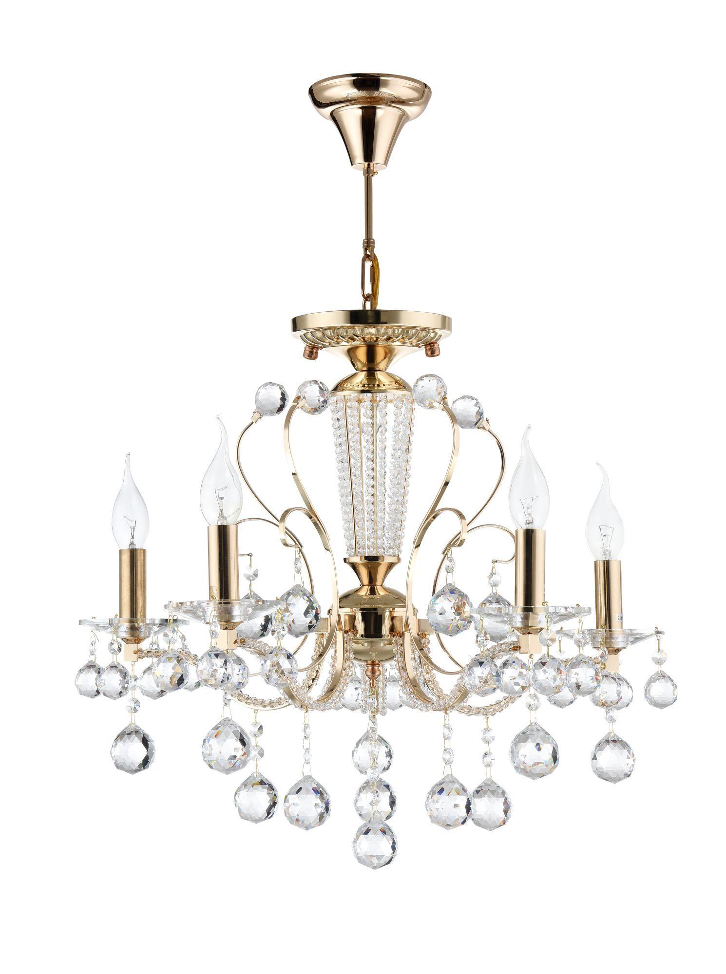 Потолочно-подвесная люстра Freya Marlin FR1130-PL-05-G (FR130-05-G), 5xE14x40W, золото с прозрачным, прозрачный с золотом, прозрачный, металл со стеклом, хрусталь - фото 2