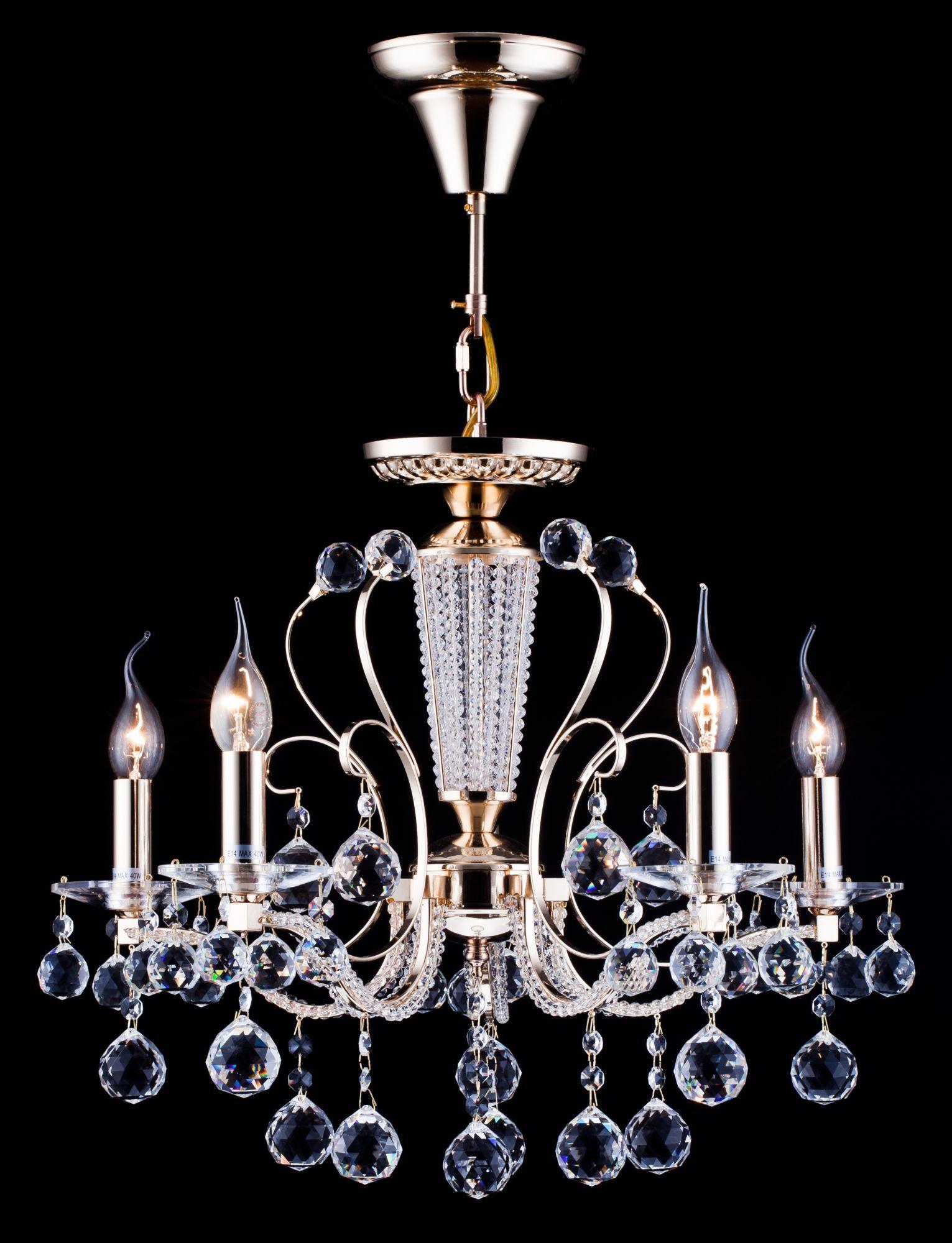 Потолочно-подвесная люстра Freya Marlin FR1130-PL-05-G (FR130-05-G), 5xE14x40W, золото с прозрачным, прозрачный с золотом, прозрачный, металл со стеклом, хрусталь - фото 4