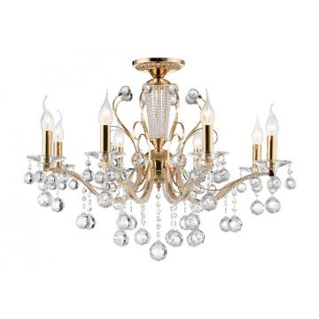 Потолочно-подвесная люстра Freya Marlin FR1130-PL-08-G (FR130-08-G), 8xE14x40W, золото с прозрачным, прозрачный с золотом, прозрачный, металл со стеклом, хрусталь