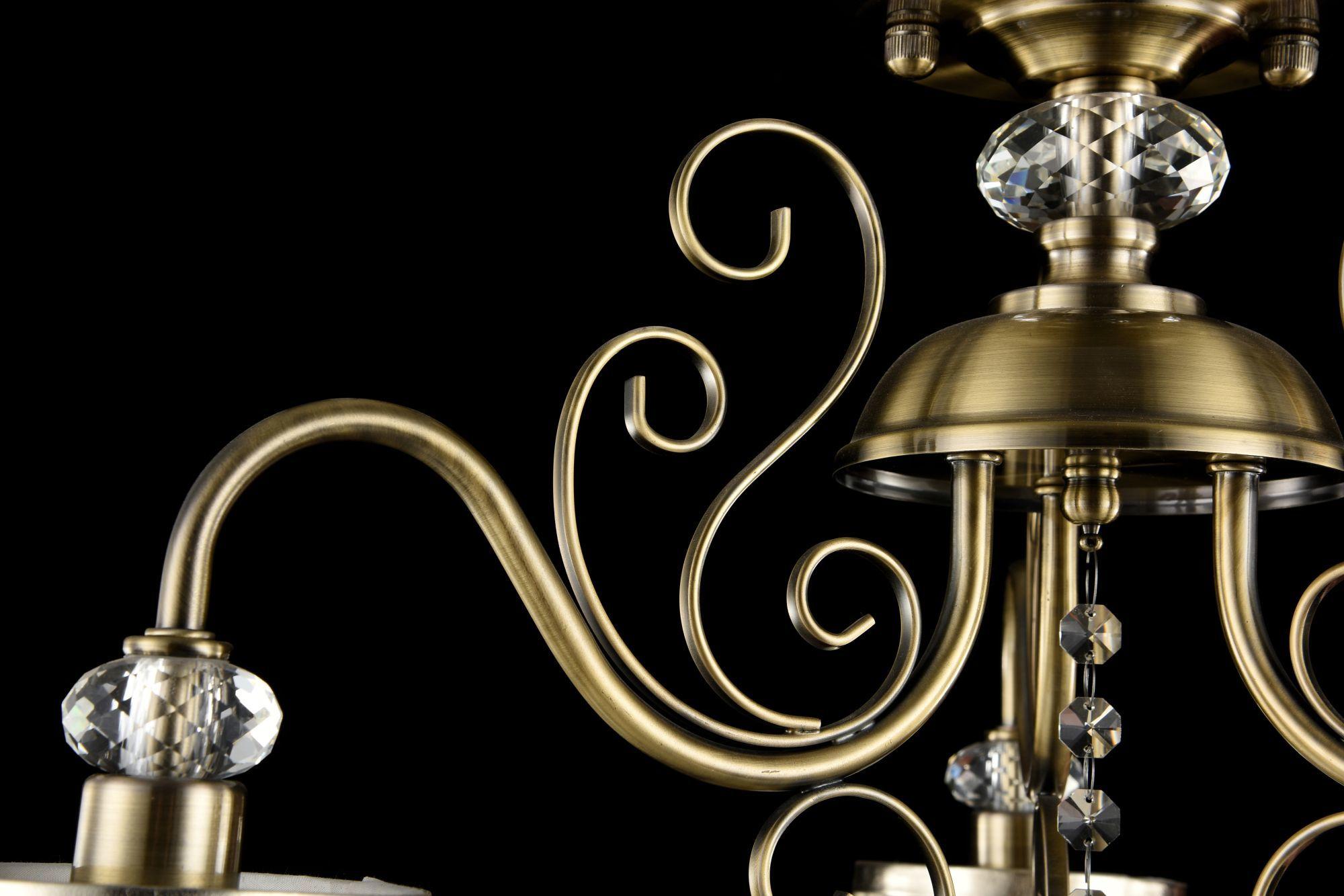 Потолочно-подвесная люстра Freya Classic Driana FR2405-PL-03-BZ (FR405-03-R), 3xE14x40W, бронза с прозрачным, прозрачный с бронзой, прозрачный, металл с хрусталем, текстиль, хрусталь - фото 6
