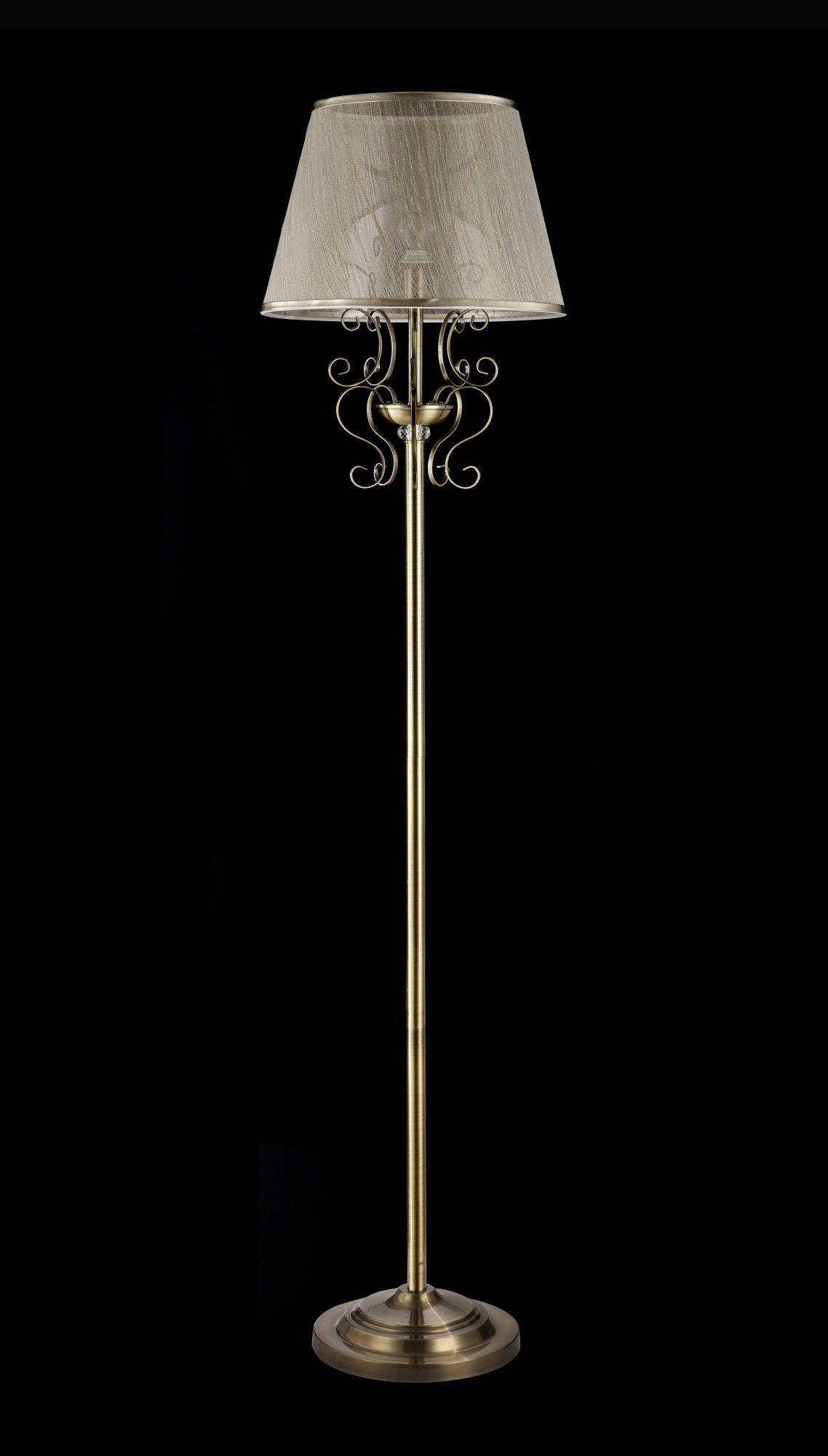 Торшер Freya Classic Driana FR2405-FL-01-BZ (FR405-001-R), 1xE14x40W, бронза с прозрачным, прозрачный с бронзой, металл с хрусталем, текстиль - фото 2
