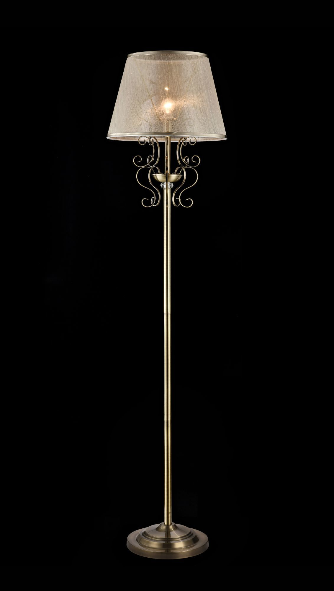 Торшер Freya Classic Driana FR2405-FL-01-BZ (FR405-001-R), 1xE14x40W, бронза с прозрачным, прозрачный с бронзой, металл с хрусталем, текстиль - фото 3