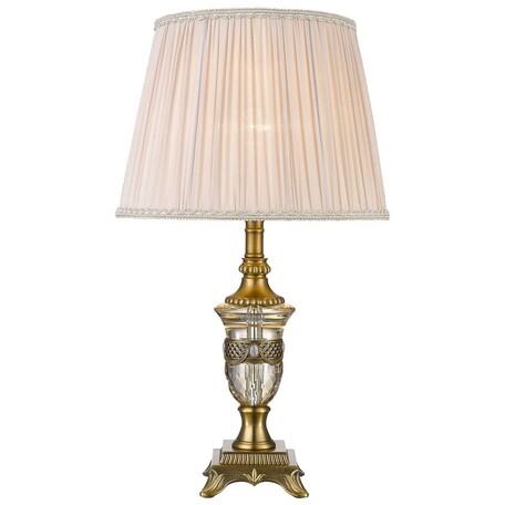 Настольная лампа Wertmark Tico WE711.01.504, 1xE27x60W, бронза, бежевый, металл с хрусталем, текстиль