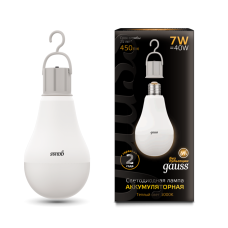 Светодиодная лампа Gauss 102402107 груша E27 7W, 3000K (теплый) CRI90 180-240V, гарантия 2 года