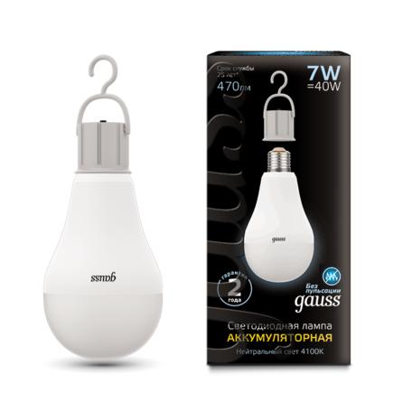 Светодиодная лампа Gauss 102402207 груша E27 7W, 4100K (холодный) CRI90 180-240V, гарантия 2 года