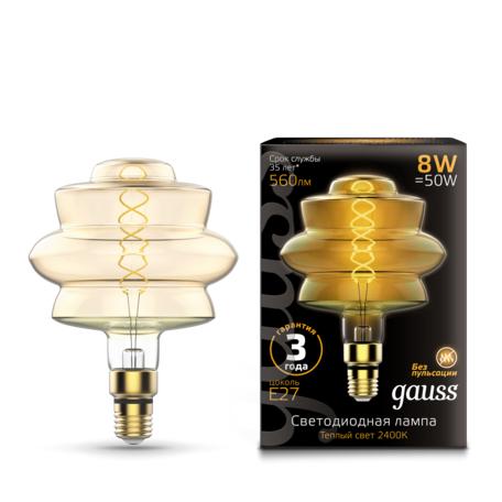 Светодиодная лампа Gauss Filament Oversize 161802008 E27 8W, 2400K (теплый) 185-265V, гарантия 3 года