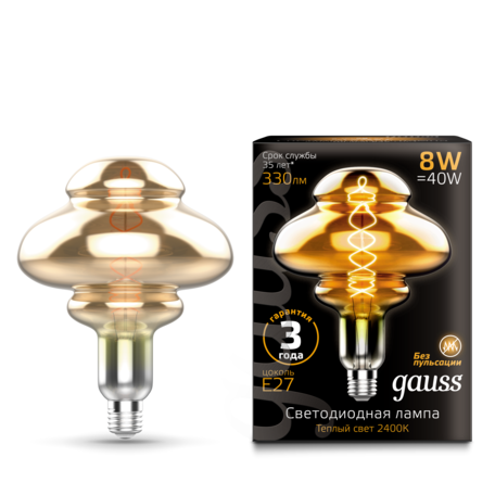 Светодиодная лампа Gauss Filament Oversize 162802008 E27 8W, 2400K (теплый) 185-265V, гарантия 3 года