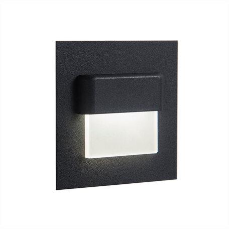 Встраиваемый настенный светодиодный светильник Citilux Скалли CLD006K5, LED 1W 3000K, белый, черный, металл, пластик