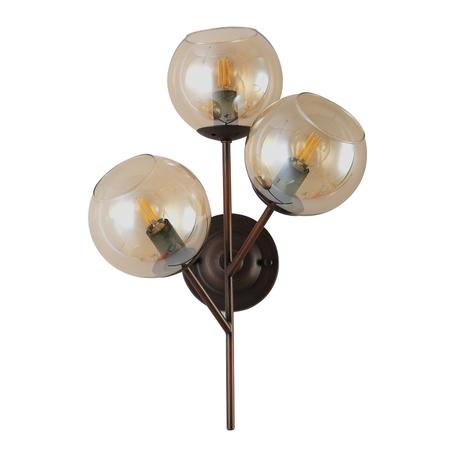 Бра Crystal Lux BUENO AP3 1280/403, 3xE14x60W, коричневый, янтарь, металл, стекло
