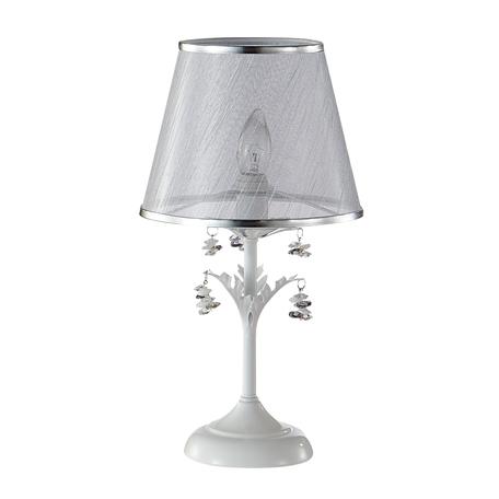 Настольная лампа Crystal Lux CRISTINA LG1 WHITE 0430/501, 1xE14x60W, белый, серебро, разноцветный, металл, текстиль, хрусталь