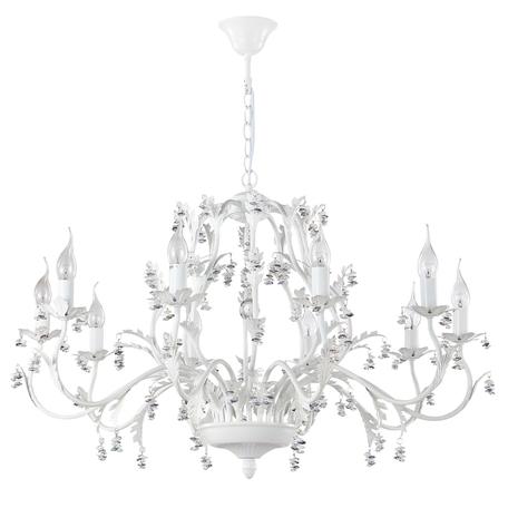 Подвесная люстра Crystal Lux CRISTINA SP10 WHITE 0430/310, 10xE14x60W, белый, разноцветный, металл, хрусталь