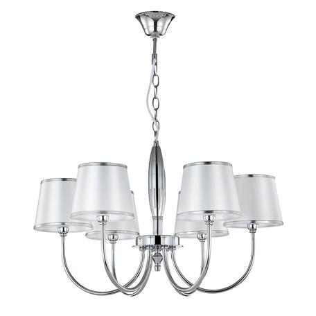 Подвесная люстра Crystal Lux FAVOR SP6 CHROME 0570/306, 6xE14x60W, хром, серебро, металл, текстиль