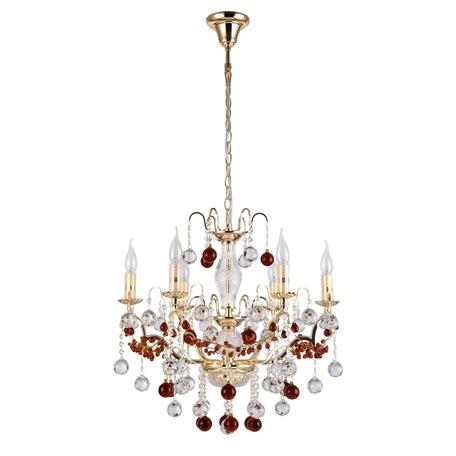 Подвесная люстра Crystal Lux FRUTA SP6 GOLD 0680/306, 6xE14x60W, золото, янтарь, металл, стекло