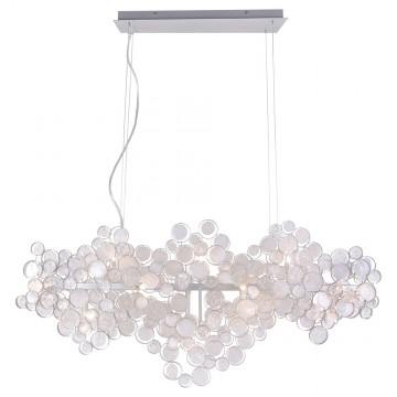 Подвесной светильник Crystal Lux DESEO SP15 L1400 SILVER 1561/215, 15xG9x60W, серебро, металл, стекло
