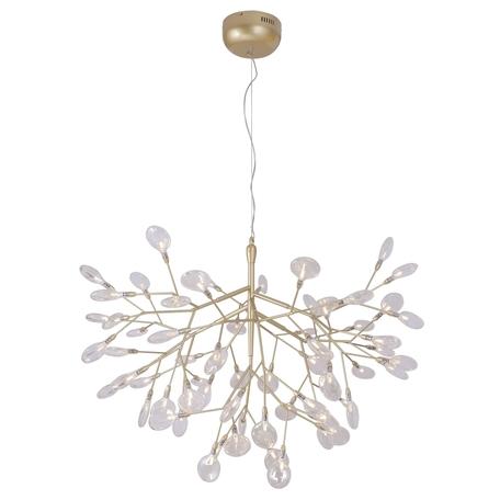 Подвесная люстра Crystal Lux EVITA SP63 GOLD/TRANSPARENT 1692/263, 63xG4x1W, матовое золото, прозрачный, металл, стекло