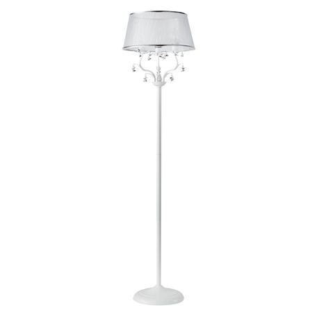 Торшер Crystal Lux CRISTINA PT3 WHITE 0430/603, 3xE14x60W, белый, серебро, разноцветный, металл, текстиль, хрусталь