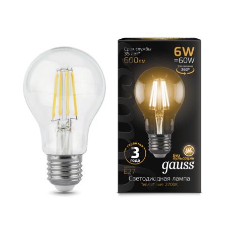 Филаментная светодиодная лампа Gauss 102802106 груша E27 6W, 2700K (теплый) CRI>90 185-265V, гарантия 3 года