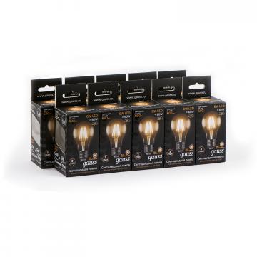 Филаментная светодиодная лампа Gauss 102802106 груша E27 6W, 2700K (теплый) CRI>90 185-265V, гарантия 3 года - миниатюра 3