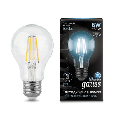 Филаментная светодиодная лампа Gauss 102802206 груша E27 6W, 4100K (холодный) CRI>90 185-265V, гарантия 3 года