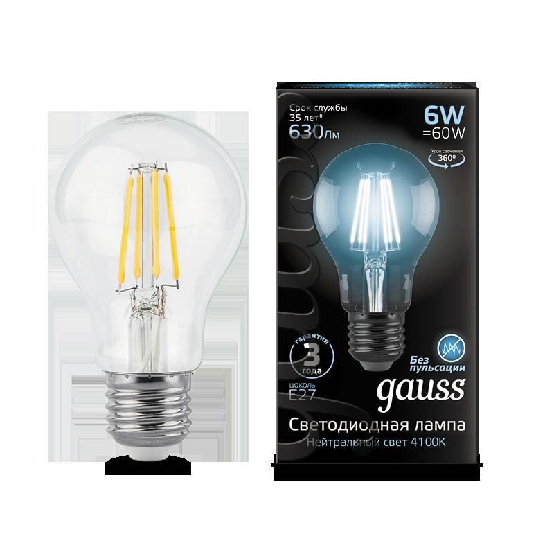 Филаментная светодиодная лампа Gauss 102802206 груша E27 6W, 4100K (холодный) CRI>90 185-265V, гарантия 3 года - фото 1