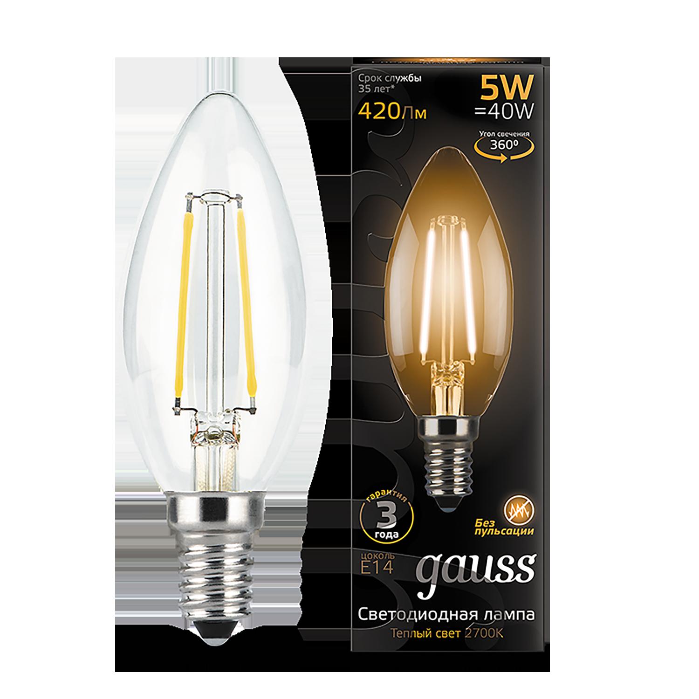 Филаментная светодиодная лампа Gauss 103801105 свеча E14 5W, 2700K (теплый) CRI>90 185-265V, гарантия 3 года - фото 1