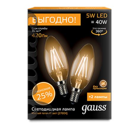 Филаментная светодиодная лампа Gauss 103801105P свеча E14 5W, 2700K (теплый) CRI>90 150-265V, гарантия 3 года