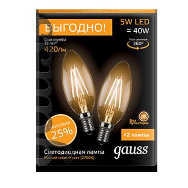 Филаментная светодиодная лампа Gauss 103801105P свеча E14 5W, 2700K (теплый) CRI>90 150-265V, гарантия 3 года - фото 1