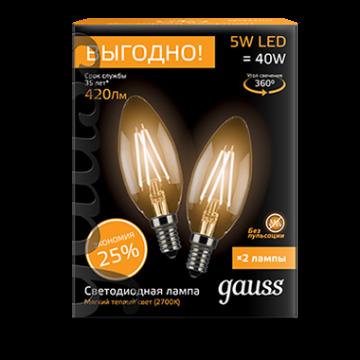 Филаментная светодиодная лампа Gauss 103801105P свеча E14 5W, 2700K (теплый) CRI>90 150-265V, гарантия 3 года - миниатюра 2