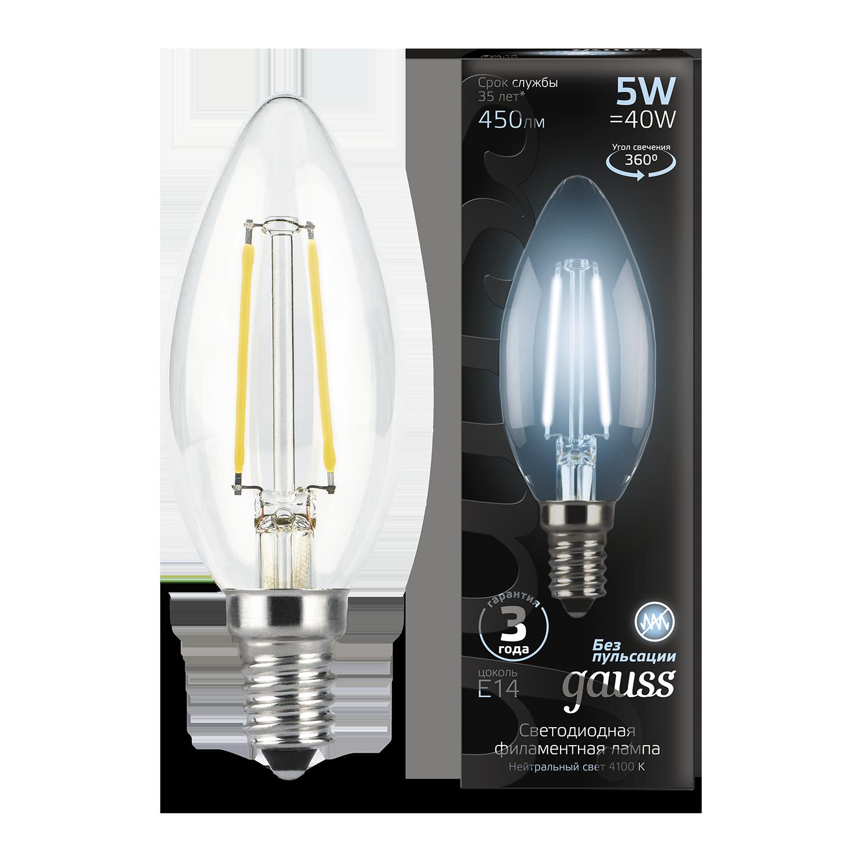 Филаментная светодиодная лампа Gauss 103801205 свеча E14 5W, 4100K (холодный) CRI>90 185-265V, гарантия 3 года - фото 1