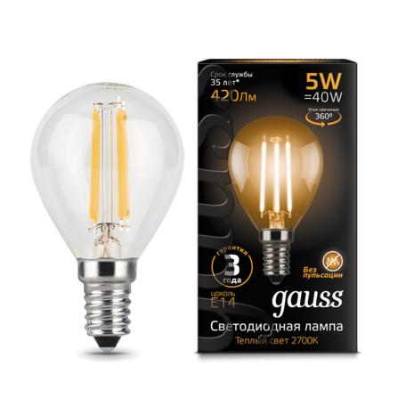 Филаментная светодиодная лампа Gauss 105801105 шар E14 5W, 2700K (теплый) CRI>90 185-265V, гарантия 3 года